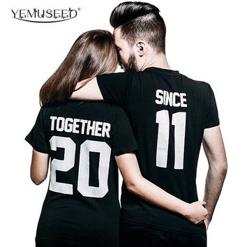 YEMUSEED  Women Unique Couple T shirt Tops Summer Black Harjuku Punk Hipster Together 20 Since 11 Tee shirts Tumblr WMT252