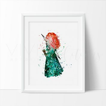 Princess Merida, Brave Watercolor Art Print