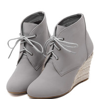 Gray Suedette Lace Up Wedge Ankle Boots