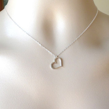 Heart Necklace - Silver Heart Necklace - Sterling Silver and Pewter Necklace - Heart Outline Necklace - Weddings - Bridesmaid Gifts