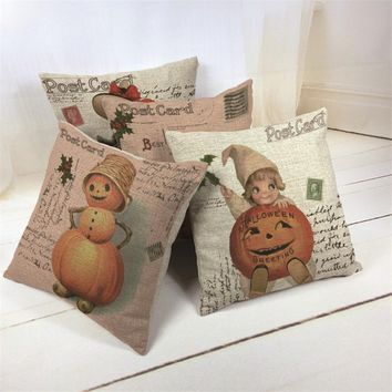 "18x18"" Happy Halloween Day Retro Little Witch and Big Pumpkin Girl Burlap Cushion Cover Pillowcase for Season Decoration Cojines"