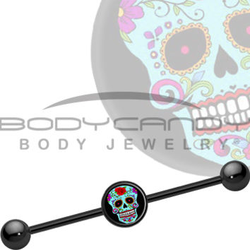 Blue Sugar Skull Industrial Barbell | Body Candy Body Jewelry