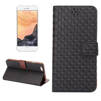 Hight Quality Black Grid Leather Card Hold Wallet creative cases Cover for iPhone 5S 6 6S Plus Samsung Galaxy S6