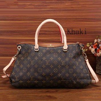 DCCKJG8 Louis Vuitton Women Leather Zipper Satchel Tote Travel Bag Handbag