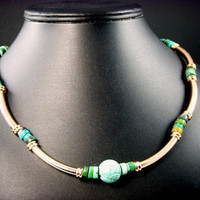 Bright Etched Copper Tube Turquoise Bead Necklace Southwestern 18 inches