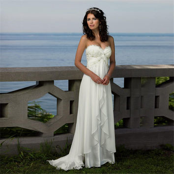 Sweetheart Crisscross Ruched Empire Waist Beach Wedding Dress Chiffon Long Robe De Mariage With Pleats Bridal Dresses