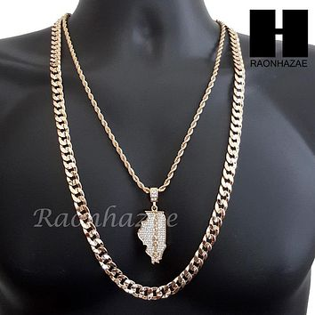 "MEN ICED OUT ILLINOIS STATE MAP US PENDANT 30"" CUBAN LINK CHAIN NECKLACE SET 93G"