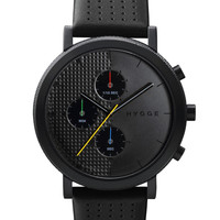 HYGGE Chronograph Watch 2204 Leather Band - Black/Black