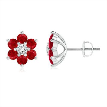 Classic Ruby Six Petal Flower Earrings