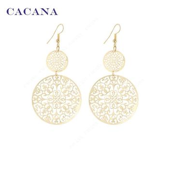 Classic Pattern Hollow Round Dangle Long Earrings For Women