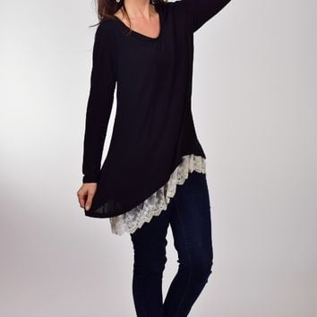 Umgee Long Sleeve Black High Low Tunic with Lace Trim