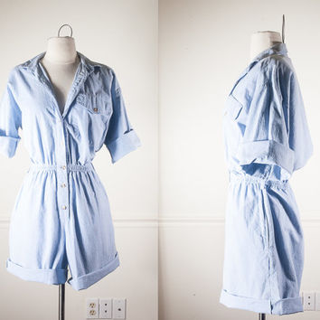 80s Cotton Romper | Jumpsuit Playsuit Outfit High Waisted Shorts Denim Romper Safari Romper Slouchy Top Button Down Shirt Chambray Shirt 90s