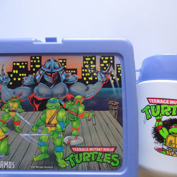 Vintage Teenage Mutant Ninja Turtles Lunchbox and Thermos 1990