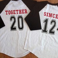 Free/Fast  Shipping Disney Inspired Couples Baseball TShirts Mickey and Minnie Together Since Shirts