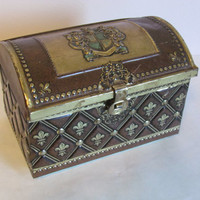 Medieval Box Jewelry Chest Fleur de Leis Small Jewelry Box