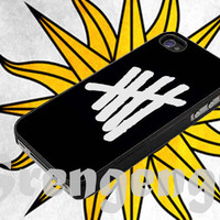 5sos logo white , iphone 4/4s,5/5s/5c, samsung galaxy (mini) s3,s4,s5, Galaxy note 2,3, ipod touch 4,5