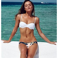 women's push up bikini floral bottom high quality white fashion swimwear swimsuit