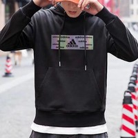 """Adidas"" Casual Unisex Fashion Laser Letter Pattern Long Sleeve Hooded Sweater Hoodie Tops"