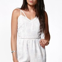 Kendall & Kylie Crochet Trim Harness Romper - Womens Dress - White