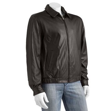 Chaps Leather Bomber Jacket