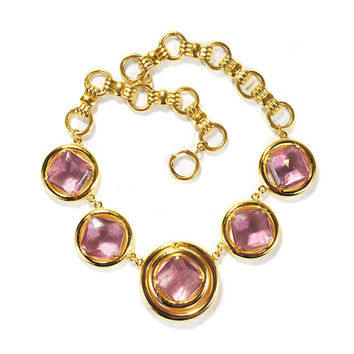 Vintage Gold Statement Necklace Diamond Shape Purple Glass Chunky Bow Bookchain 1960s Costume Designer Jewelry