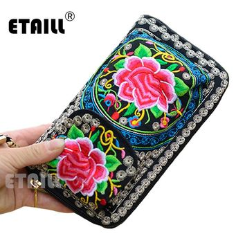 Ethnic Embroider Purse Wallet Clutch Bag Card Coin Holder Boho Indian Embroidered Phone Bag Brand Wallet Logo Monederos Etnicos