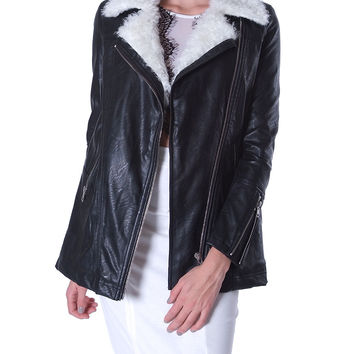 Below Zero Shearling Faux Leather Coat - Black