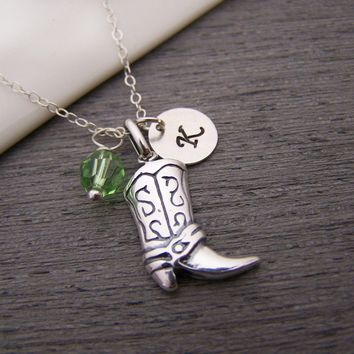 Cowgirl Boot Swarovski Birthstone Initial Personalized Necklace / Gift for Her