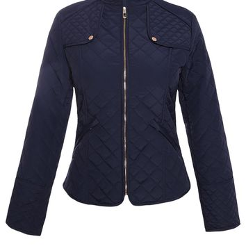 Navy Diamond Plaid Quilted Cotton Jacket