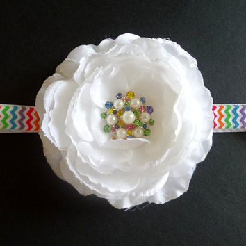 Rainbow Baby Headband. White Flower on Bright Rainbow Chevron Headband. Baby Hair Accessories. Girls Hair Accessories. Rainbow Baby Headband