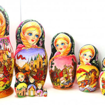 Nesting Doll 10pcs 10 inch 25cm Matryoshka, Russian doll, Russian matryoshka doll, Nested doll – The tale of the Golden Cockerel kod311