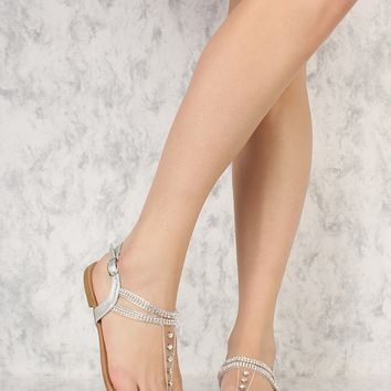 Silver Rhinestone Accent Cute Sandals Faux Leather