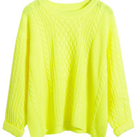 Neon Yellow Cable Knit Fall Fashion Sweater