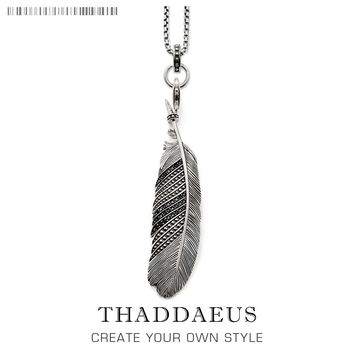 Feather Link Chain Necklace,2017 Brand New Silver Ts Fashion Jewelry Thomas Style Rebel Cross Bijoux Gift For Men & Women Friend