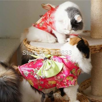 Japan Style Cats Dress with Big Bow Dog Pets Kimono Clothes XS-XL