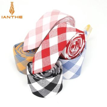6cm Brand New Men's Vintage Casual Cotton Plaid Narrow Neck Ties For Man Red Black Wedding Suits Slim Necktie Classic Skinny tie