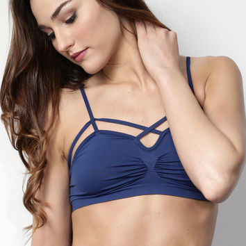Suzette Criss Cross Bralet - Navy