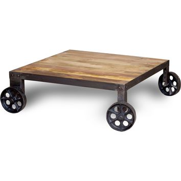 Industrial Collection Coffee Table Iron & Natural Hardwood Wheels