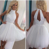 New White Cocktail Dresses 2016 High Neck Short Homecoming Party Dress MiNi Formal Prom Gowns