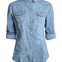 Maria Mid Wash Slim Fit Denim Shirt