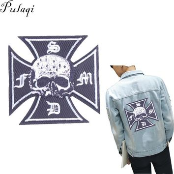 Pulaqi Fashion Cross Skull Patch Iron On Denim Jacket Sewing On Clothing Embroidered Badge Applique Decal For DIY Accessories H