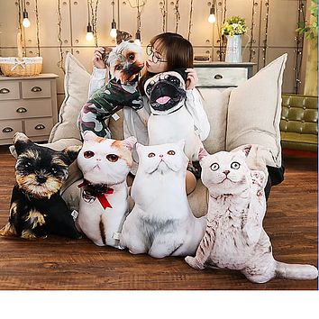 Cute Cat & Dog Plush Pillows Stuffed Simulation Animal Cushion Dolls - 1pc 50cm/19/7in