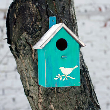 Rustic Birdhouse Wood Handpainted Blue, Bird House, Feathers Birds, Functional Primitive Bird House, Hanging Box Garden Art For Birds