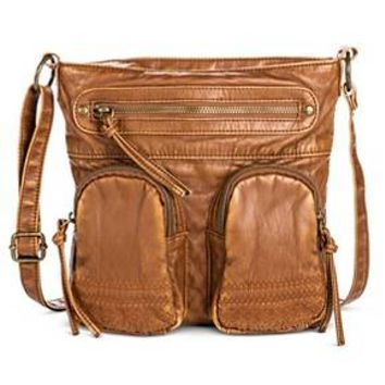 Women's Embroidered Pockets Triple Zip Crossbody Faux Leather Handbag Cognac - Mossimo Supply Co.™