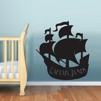 rvz604 Wall Decal Vinyl Sticker Nursery Kids Baby Ship Ocean Sea Pirate