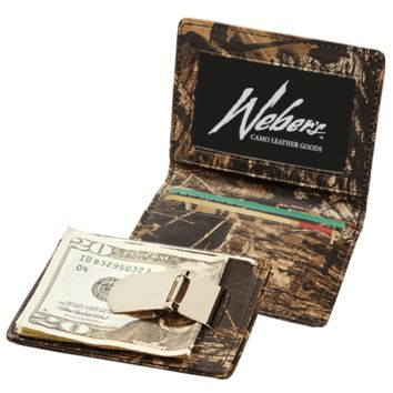 MOSSY OAK® BREAK-UP® CAMO LEATHER Front Pocket Wallet with Super-Strong Clip