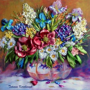 "picture ""Vase with  the  flowers vintage  "",  Silk ribbon embroidery 3D effect"
