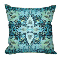 Throw Pillow - Bohemian Rose Lace in aqua
