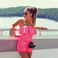 rompers womens jumpsuit 2017 Summer Women Fashion Casual ruffles Strapless waist tightening candy color Womens Rompers