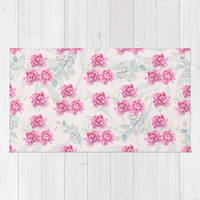 watercolor peonies Rug by sylviacookphotography